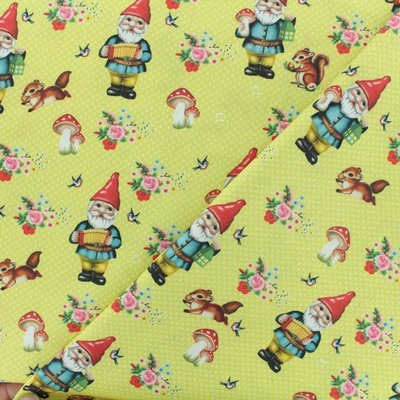 Digital Print Cotton - Happy Gnomes