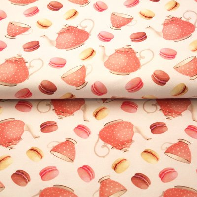 Digital Print Jersey - Tea Party Ivory