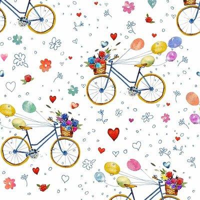Fat Quarter - Bicycle White - 45x45 cm