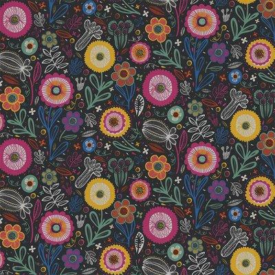 Home Decor Fabric - Folklore Bouquet Black