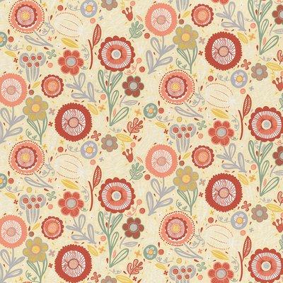 Home Decor Fabric - Folklore Bouquet  Cream