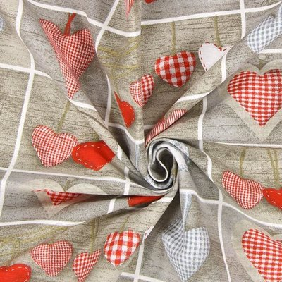 Home Decor Ottoman Printed Fabric - Scandi Hearts