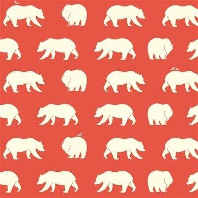 Organic Cotton Fabric - Bear Hike Coral