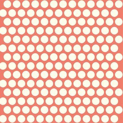 Organic Cotton Fabric - Dottie Cream Coral