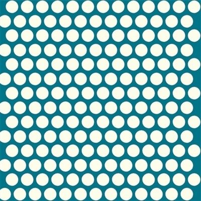 Organic Cotton Fabric - Dottie Cream Teal