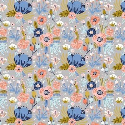 Organic Jersey - Flowers Grey