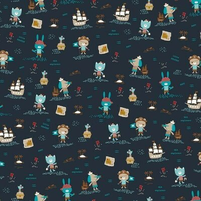 Organic Poplin Printed- Pirates navy
