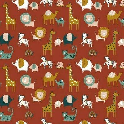 Organic Poplin Printed- Safari Rust