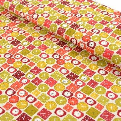Patchwork fabric Makower Lila Clocks Red