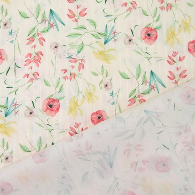 Poplin -  Flower Stripe Rose