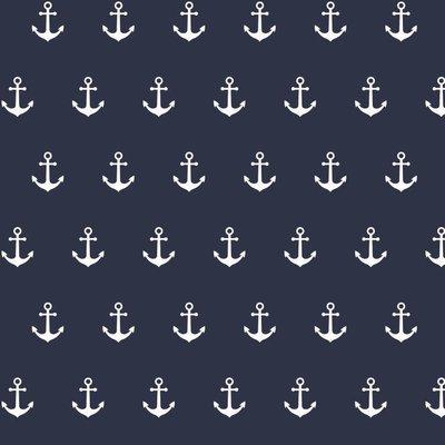 Printed Cotton - Anchor Party Navy