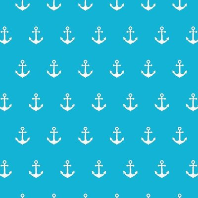 Printed Cotton - Anchor Party Turquoise