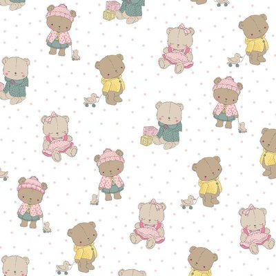Printed Cotton - Baby Bears White
