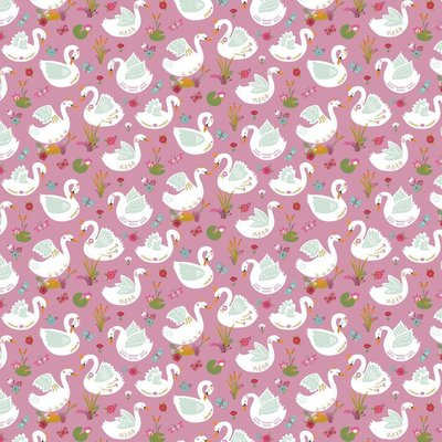 Printed Cotton - Beautiful Swans Mauve