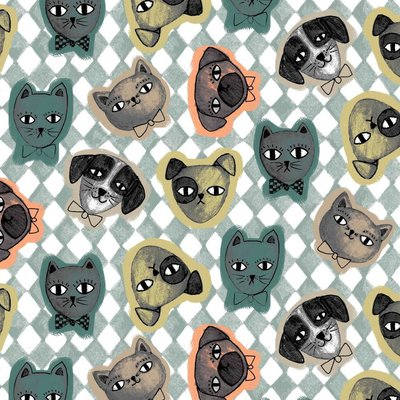 Printed Cotton - Cats and Dogs Mint