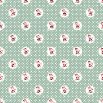 Printed Cotton - Charming Roses Green