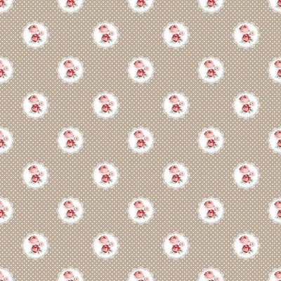 Printed Cotton - Charming Roses Taupe