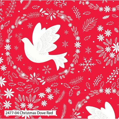 Printed Cotton - Christmas Dove Red