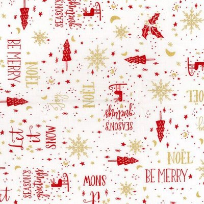 Printed Cotton Christmas Greetings Ivory