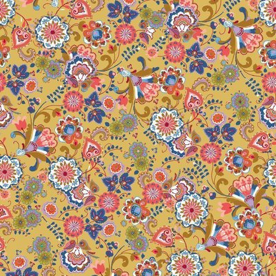 Printed Cotton - Folklore Flowers Camel