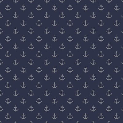 Printed Cotton - Glitter Anchors on Navy