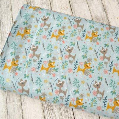 Printed Cotton - Glitter Deer Blue