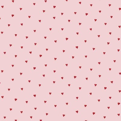Printed Cotton - Heart Pink/Red