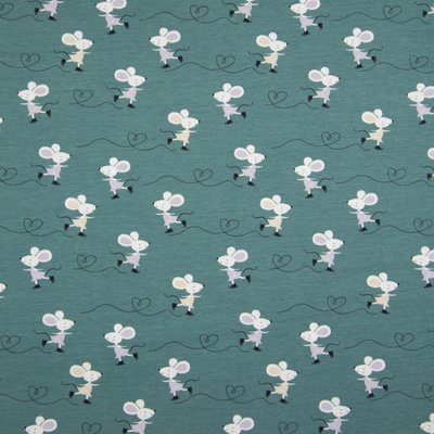 Printed Cotton Jersey - Happy Mouse Dusty Mint