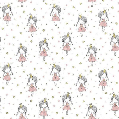 Printed Cotton - Little Princess White