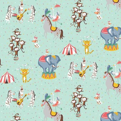 Printed Cotton - Magic Circus Aqua