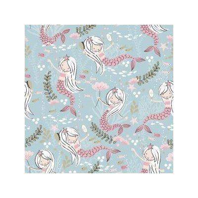 Printed Cotton - Mermaid Blue