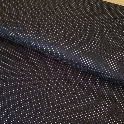 Printed Cotton - Silver Dots On Navy