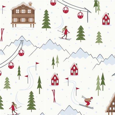 Printed Cotton - Ski Resort White