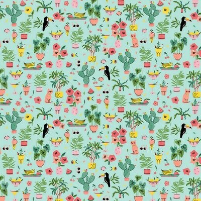 Printed cotton - Tropical Vacation Aqua