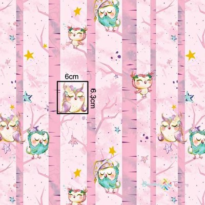 Printed cotton with gold- Sleepy Owls pink