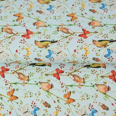 Printed Double Gauze - Birds and Butterfly Blue
