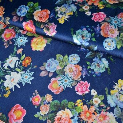 Printed velvet stretch - Floral Blue