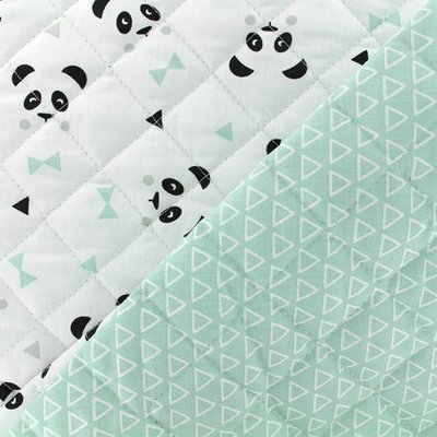 Quilted Cotton - Panda Mint
