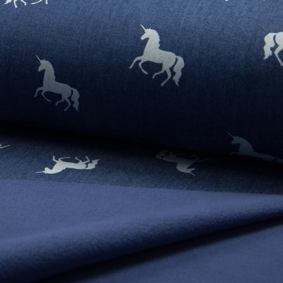 Soft Shell fabric - Denim Print Unicorns