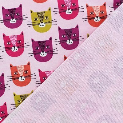Sweat Jersey  - Smiley Cat Rose Melange