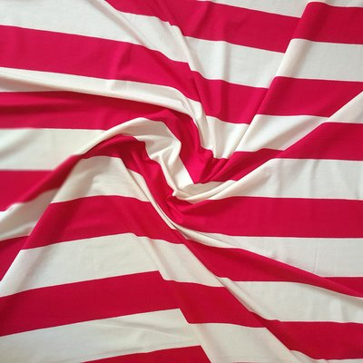 Viscose Jersey  - Wide Red Stripes