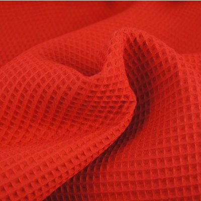 Waffle Cotton Fabric Red
