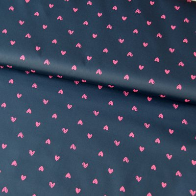 Water repellent fabric - Pink Hearts