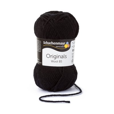 Wool Yarn Wool85 - Black