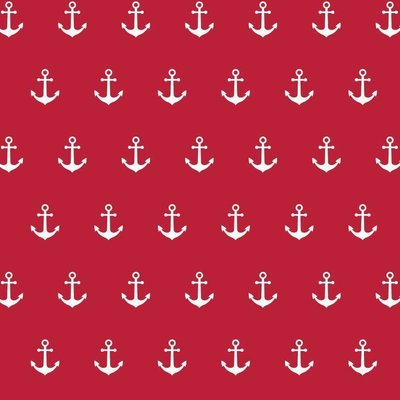 Bumbac imprimat - Anchor Party Red