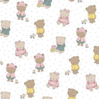 Bumbac imprimat - Baby Bears White