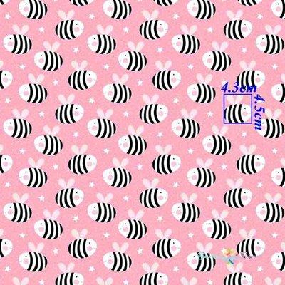 Bumbac imprimat - Bees Pink- latime 160cm