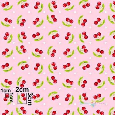 Bumbac imprimat - Cherries Pink - latime 160cm
