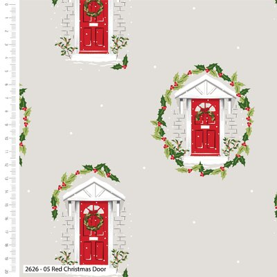 Bumbac Imprimat - Christmas Red Door
