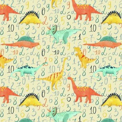 Bumbac imprimat digital  - Dinosaur Walk